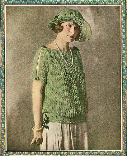 """1923 Summerland Sweater"" by Mrs. Edna Weeks, from Needlecraft Magazine, July 1923"